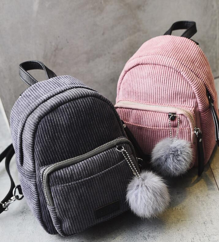 2017 New style Women-bag Backpack Sweet Lady Mini Backpack Velvet bag Teenage Girl  travel bag Free Shipping