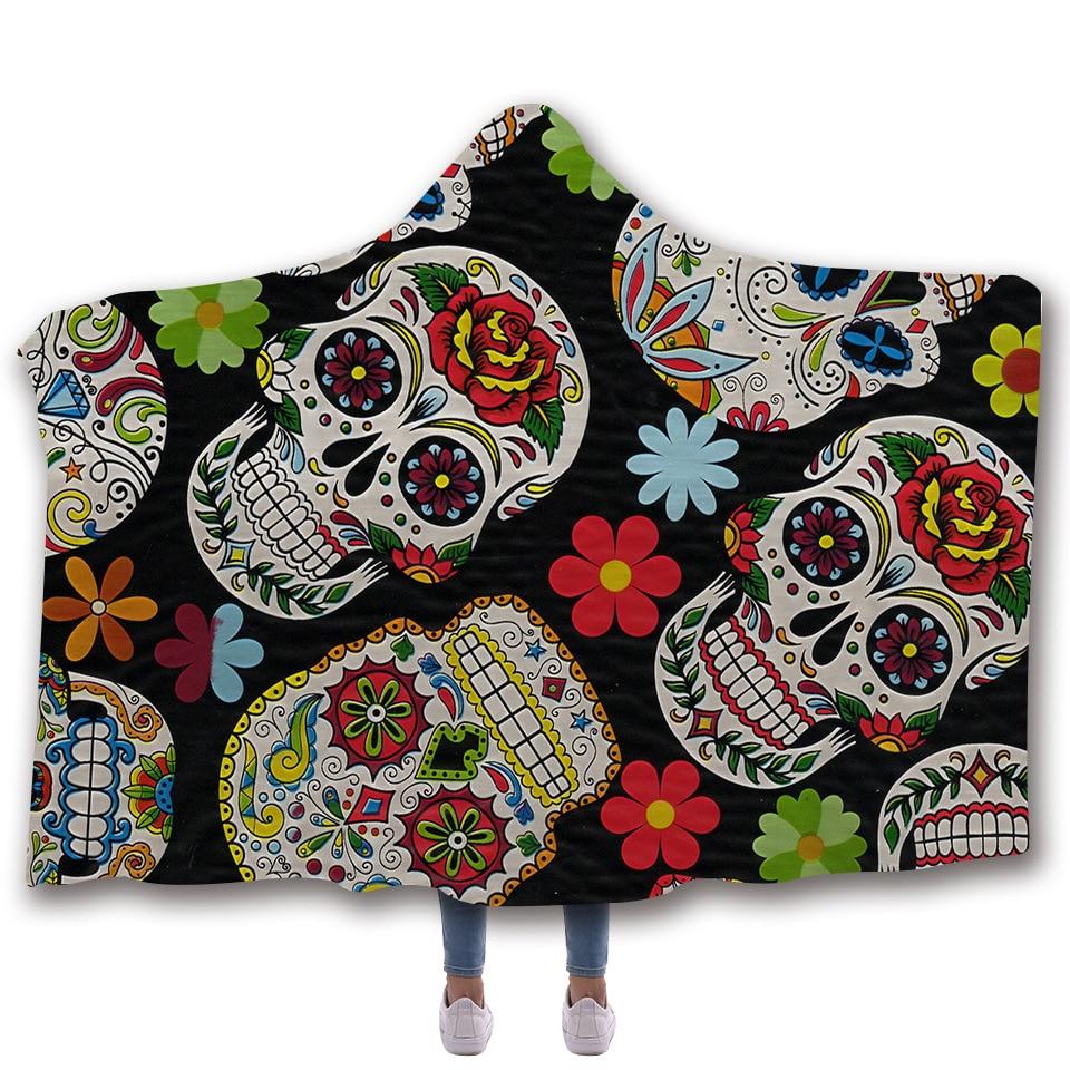 Sugar Skull Flower Hooded Blanket for Adults Floral Gothic Sherpa Fleece Wearable Throw Microfiber Black