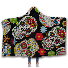 Sugar Skull Flower Hooded Blanket for Adults Floral Gothic Sherpa Fleece Wearable Throw Blanket Microfiber Black audio physic sherpa v black