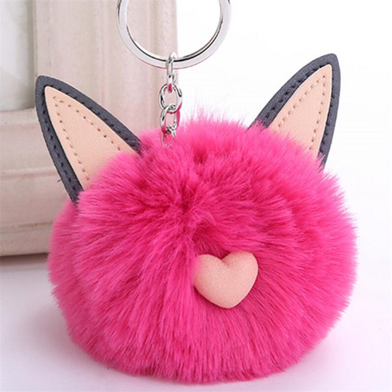 CHICDREAM Fluffy Rabbit Fur Toys Cat Ear Keychain PomPom Key Chain For Woman Bag Keyring Child Birthday Gifts