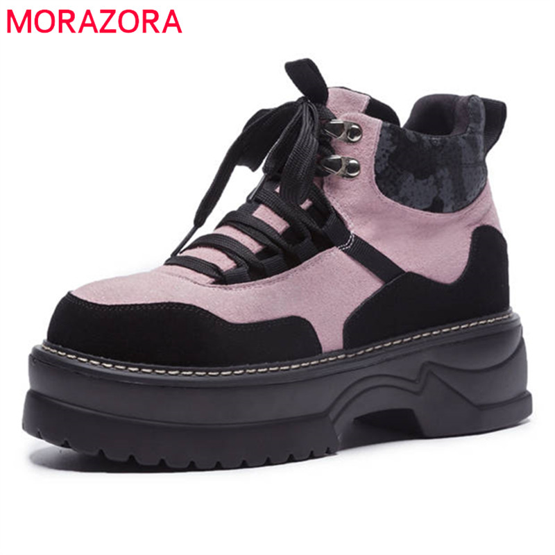 MORAZORA 2018 big size 35-42 ankle boots for women suede leather lace up Martin boots fashion comfortable platform shoes woman morazora ankle boots for women fashion shoes woman cow suede leather boots solid zipper platform womens boots size 34 40