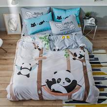 2019 Pandas Grey Trees Duvet Cover Set Cotton Bedlinens Twin Full Queen Flat Sheet Fitted Sheet Bedding Set Bed Cover(China)