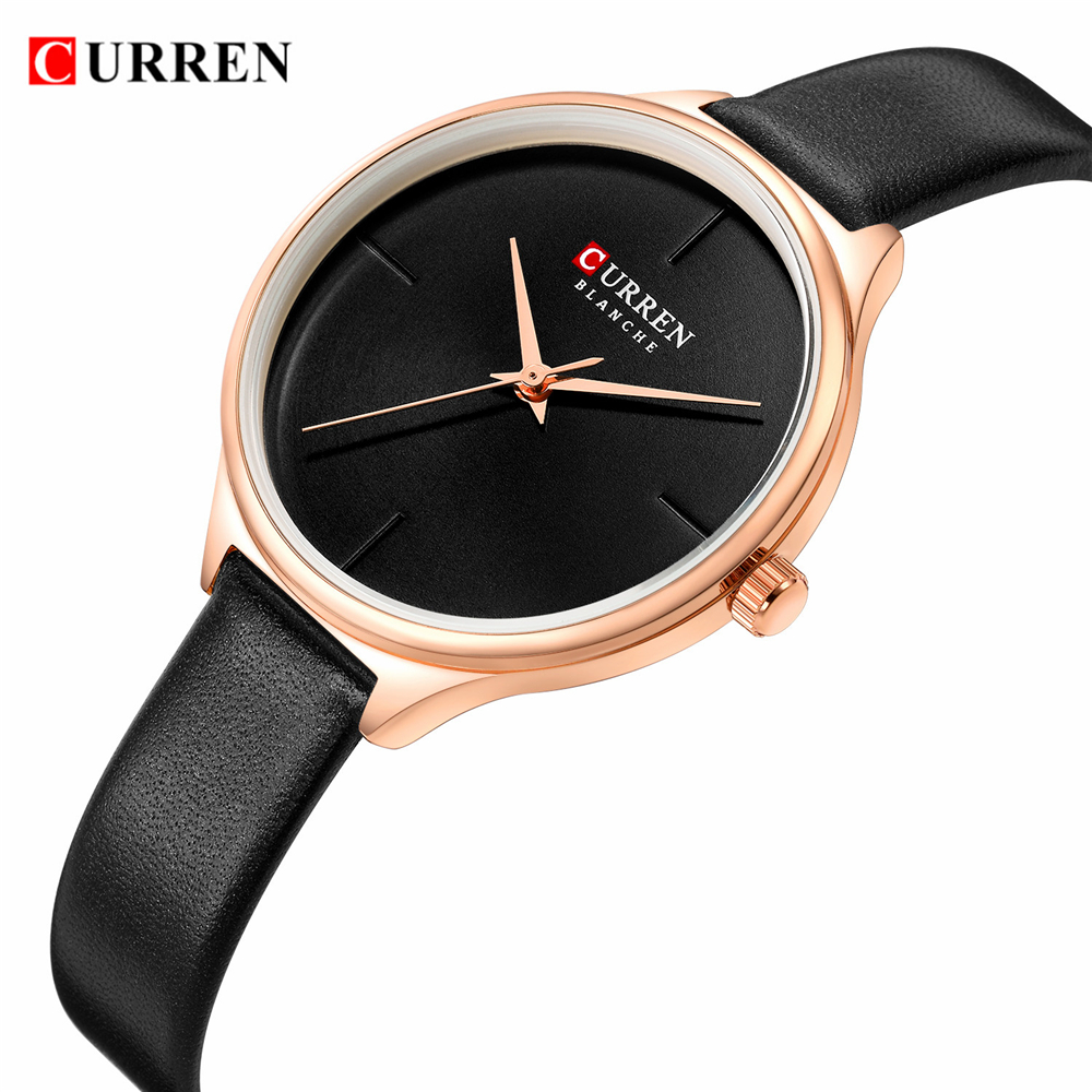 CURREN Ladies Watches Minimalist Wrist Watch For Women Casual Fashion Leather Strap Quartz Female Clock Simple Classy Watch