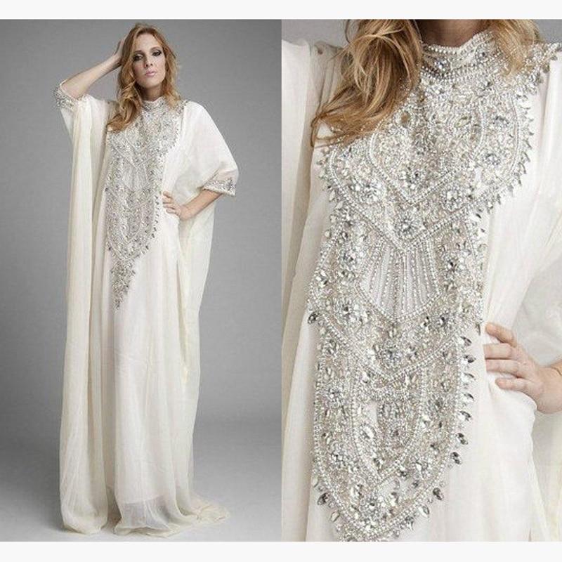 Buy dubai kaftan pakistan abaya high neck for White kaftan wedding dress