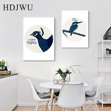 Blue Nordic Animal Bird Peacock Sparrow modern Simple decorative painting Wall Pictures for Living Room DJ228