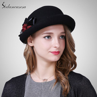 Berets Hat Female Hot Australia Wool Felt Bucket Hats Handmade Flower 2017 New Autumn Winter Fashion
