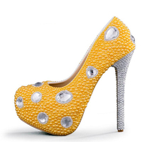 Wedding Shoes Yellow Pearl High Heel Platforms Wedding Party Pumps With Silver Rhinestone Heel Bridal Dress
