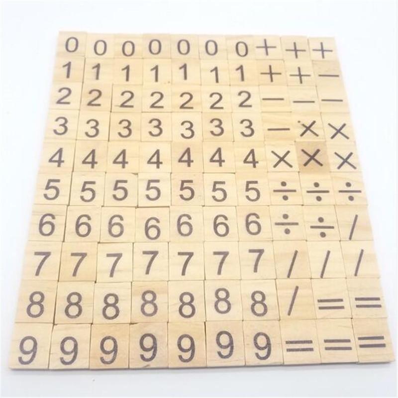100 шт./пакет Монтессори математические игрушки деревянные развивающие детские, с надписями и символикой деревянный блок учебное образовани...