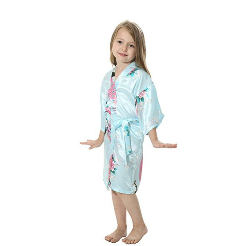 Cute On Kids Childrens Satin Silk Kimono Robe Dressing Gown Bathrobe ...