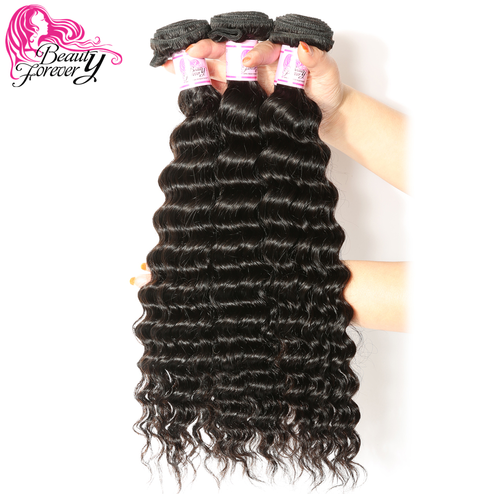 BEAUTY FOREVER 3 Bundles Deep Wave Hair Malaysian Human Hair Weaves 100 Remy Hair Extension Natural