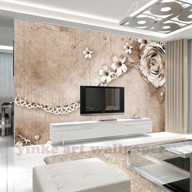 Benutzerdefinierte Tapete 3D retro rose laciness einfache ...