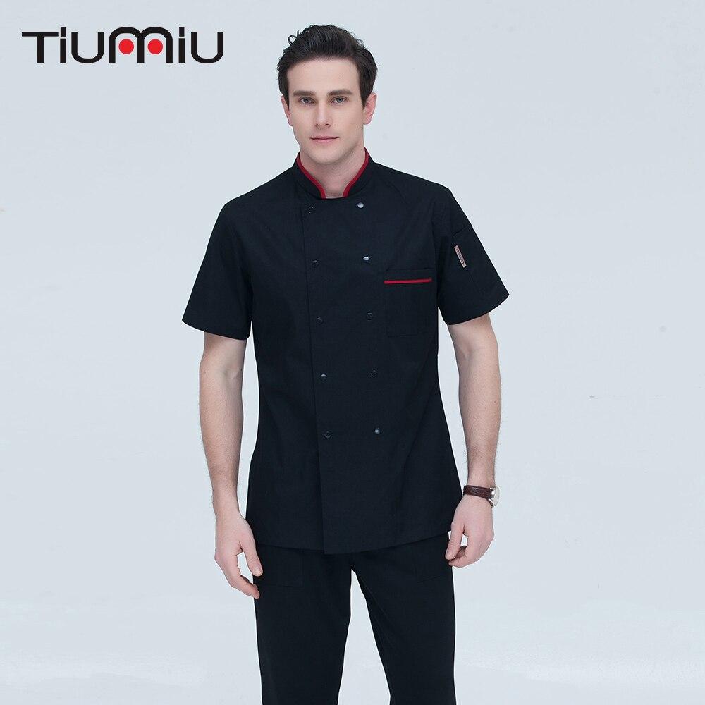 3 Colors M-4XL Wholesale Women Men Short-sleeve Double Breasted Kitchen Work Wear Chef Jacket Catering Restaurant Bakery Uniform