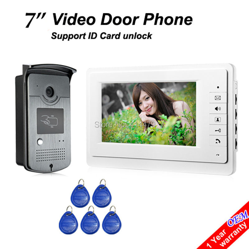 Home 7 inch Video Intercom Door Phone System with TFT LCD Monitor and RFID Card Reader Doorbell Camera 7 inch video doorbell tft lcd hd screen wired video doorphone for villa one monitor with one metal outdoor unit rfid card panel