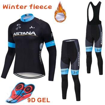 2019 preto astana equipe inverno velo térmico ciclismo jérsei calças da bicicleta conjunto ropa ciclismo 9d ciclismo maillot culotte wear 1