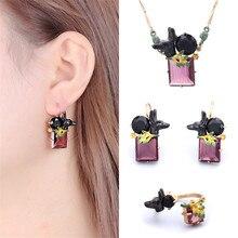 France Les Nereides Enamel Glaze Ancient Egypt Series Black Dog Gem Necklace Earring Ring Women Jewelry