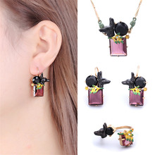 France Les Nereides Enamel Glaze Ancient Egypt Series Black Dog Gem Necklace Earring Ring Women Jewelry Sets