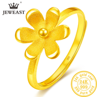 24K Pure Gold Ring Real AU 999 Solid Gold Rings Elegant Shiny Flower Beautiful Upscale Trendy Classic Jewelry Hot Sell New 2019