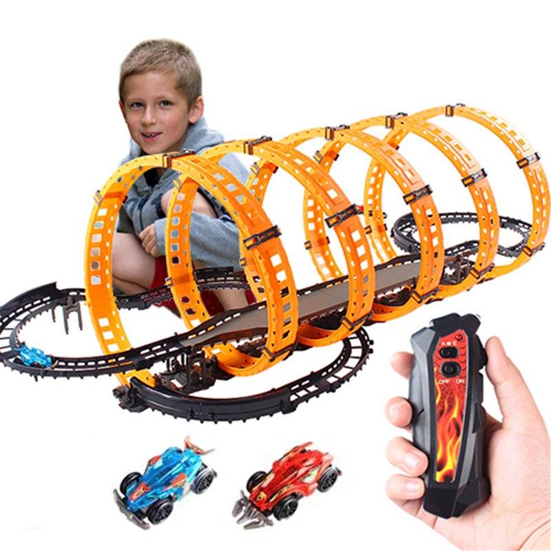 Offres spéciales électrique RC Rail voiture course jouet ensemble télécommande piste éducatif Rail voiture pistes voiture enfant enfants noël jouets cadeaux