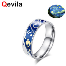 Qevila 2019 Fashion Jewelry Van Gogh Starry Sky Open Lovers Rings For Women Men Romantic Gifts 925 Sterling Silver wedding Ring(China)