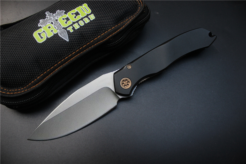 Green thorn 2016 MT1500 bearing tactical knife, D2 blade aluminum handle camping outdoor pocket knife Survival knife knives