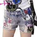 Verano 2017 mujeres ponen en cortocircuito vaqueros flare bordado ocasional pantalones cortos de mezclilla de moda de talle alto jeans shorts sexy lentejuelas cortos de dibujos animados