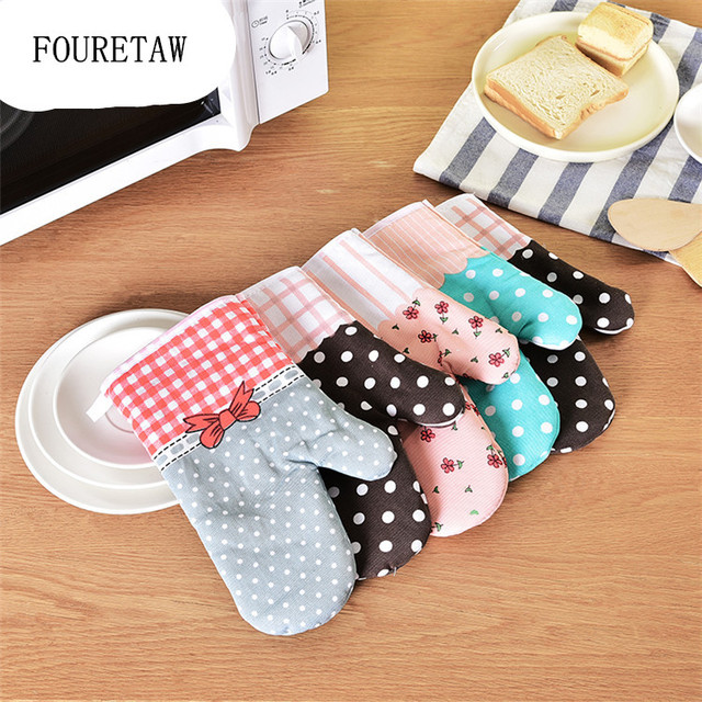 Fouretaw 1 Piece Cotton Fashion Kitchen Cooking Microwave Gloves Baking Bbq Oven Potholders Mitts