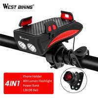 WEST RADFAHREN Fahrrad Telefon Halter Horn Licht Aufladbare Taschenlampe Power Bank Telefon Halter Für iPhone Handy Halter Halterung