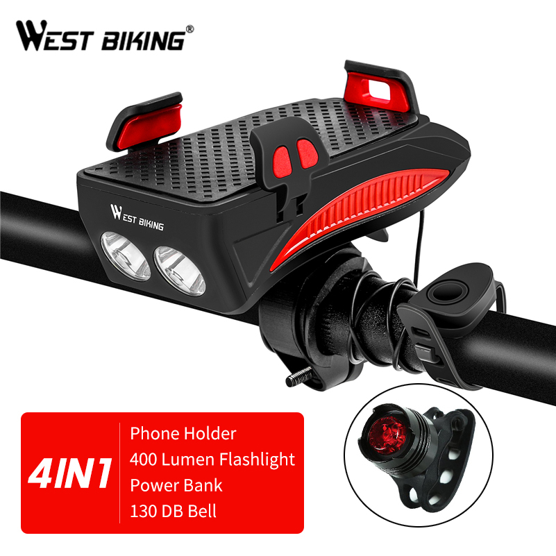 WEST BIKING <font><b>Bike</b></font> <font><b>Phone</b></font> <font><b>Holder</b></font> Horn Light Rechargeable Flashlight Power Bank <font><b>Phone</b></font> <font><b>Holder</b></font> For iPhone Cell <font><b>Phone</b></font> <font><b>Holder</b></font> Mount image