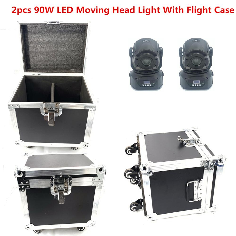 2pcs/lot 90W LED moving head with flight case 90W led spot moving head light led beam wash stage 3 face Prism DJ equipment