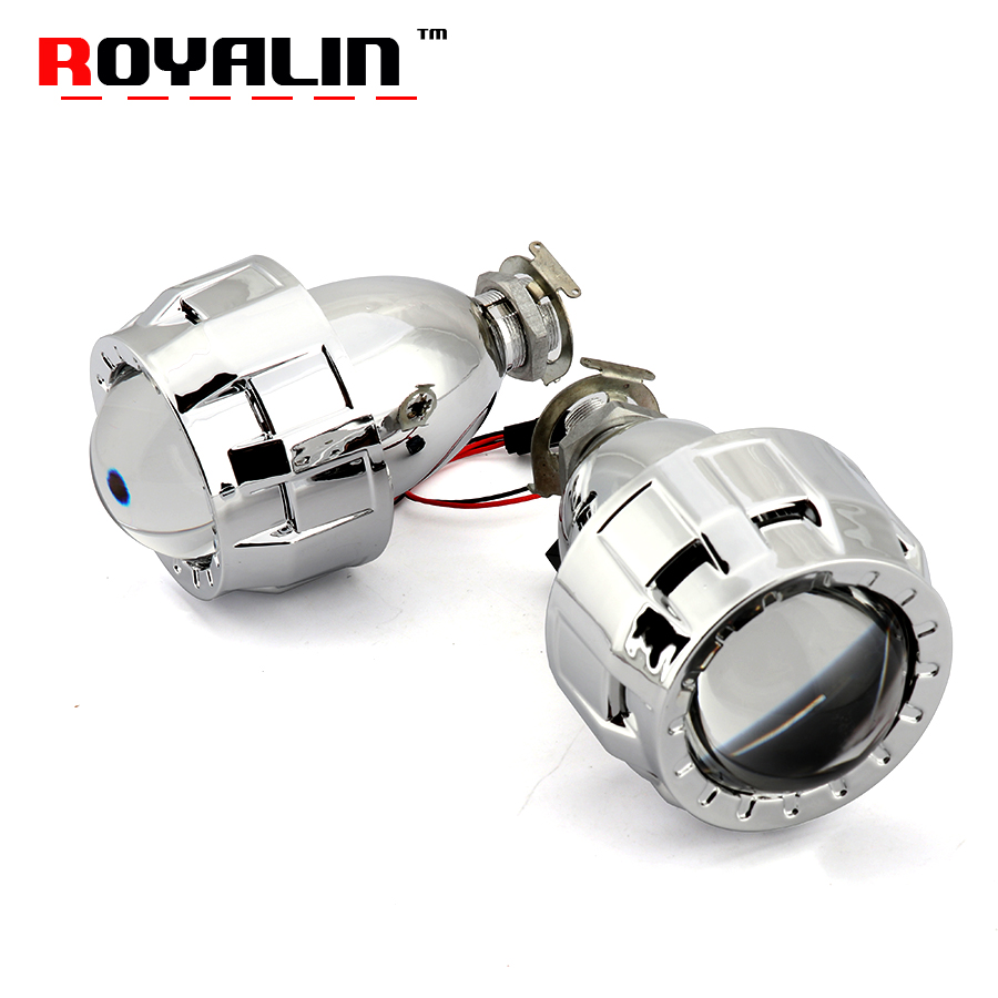 ROYALIN Car Styling 2.0 HID Bi xenon Headlight Projector Lens Metal W/ Mini Gatling Gun Shroud For Motorcycle H1 H7 H4 Retrofit retrofit headlights cover 2 5for h1 mini projector lens silver gatling gun shroud [qp379]