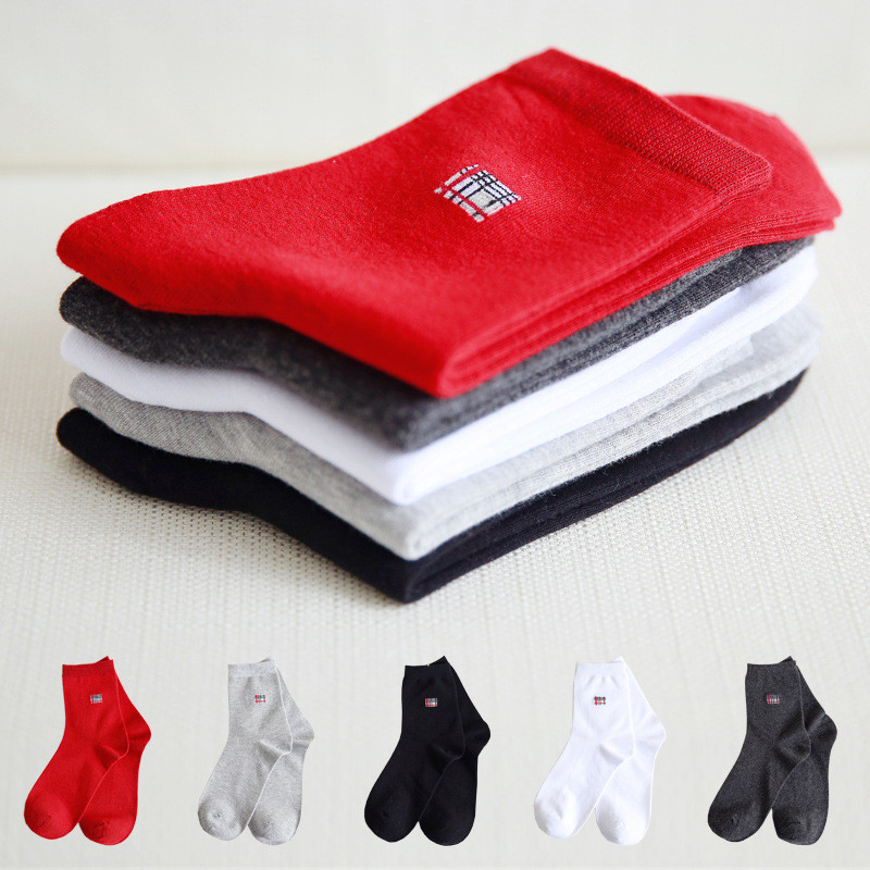 Fashion Autumn Winter Combed Cotton Men Socks Absorbent Sweat Deodorant Tube Dress Socks Business Men Socks 3Pairs Size EU 37-45