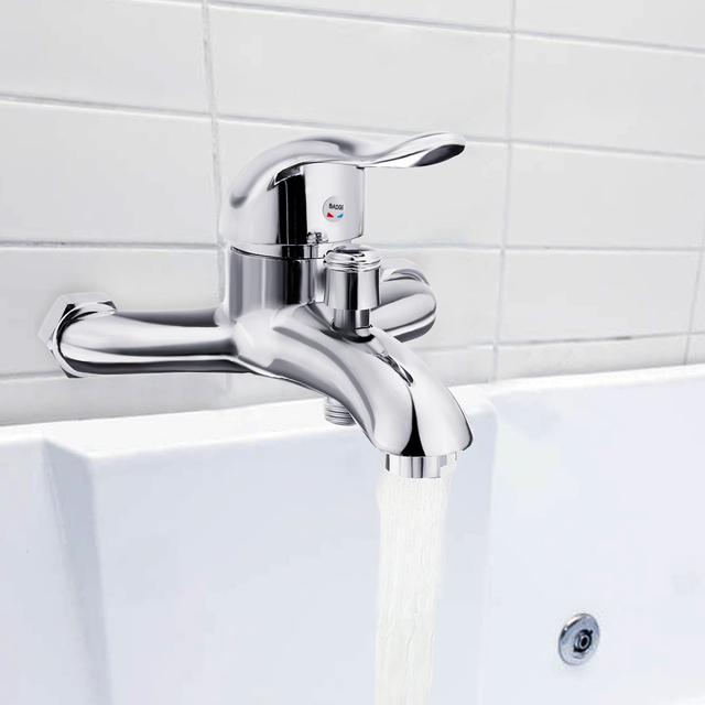 Xueqin Chrome Polished Wall Mounted Bathroom Faucet Mixer Tap Bath Tub Valve Shower Faucets Single Handle Cold And Hot Water