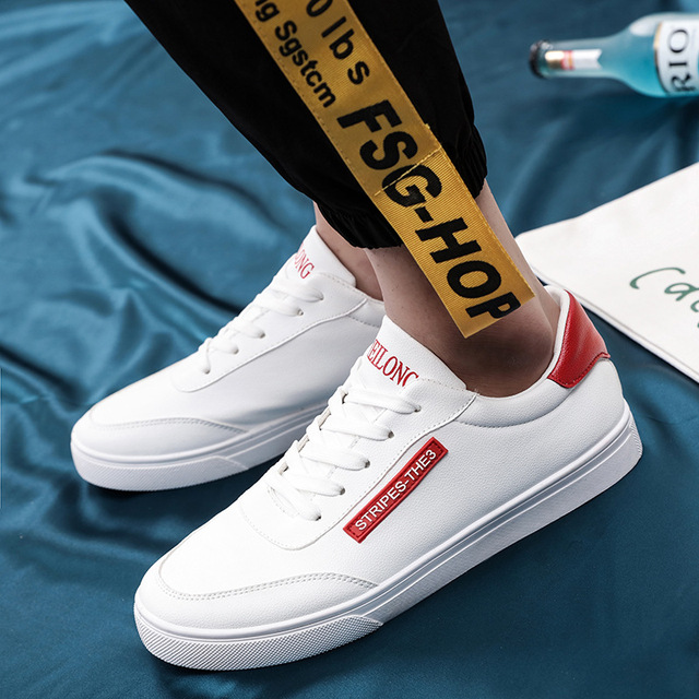 a84677918027 IPCCM 2018 New Spring Style Small White Shoes Lace-up Men s Trendy Casual  Shoes Students Low Help Joker Men s Shoes