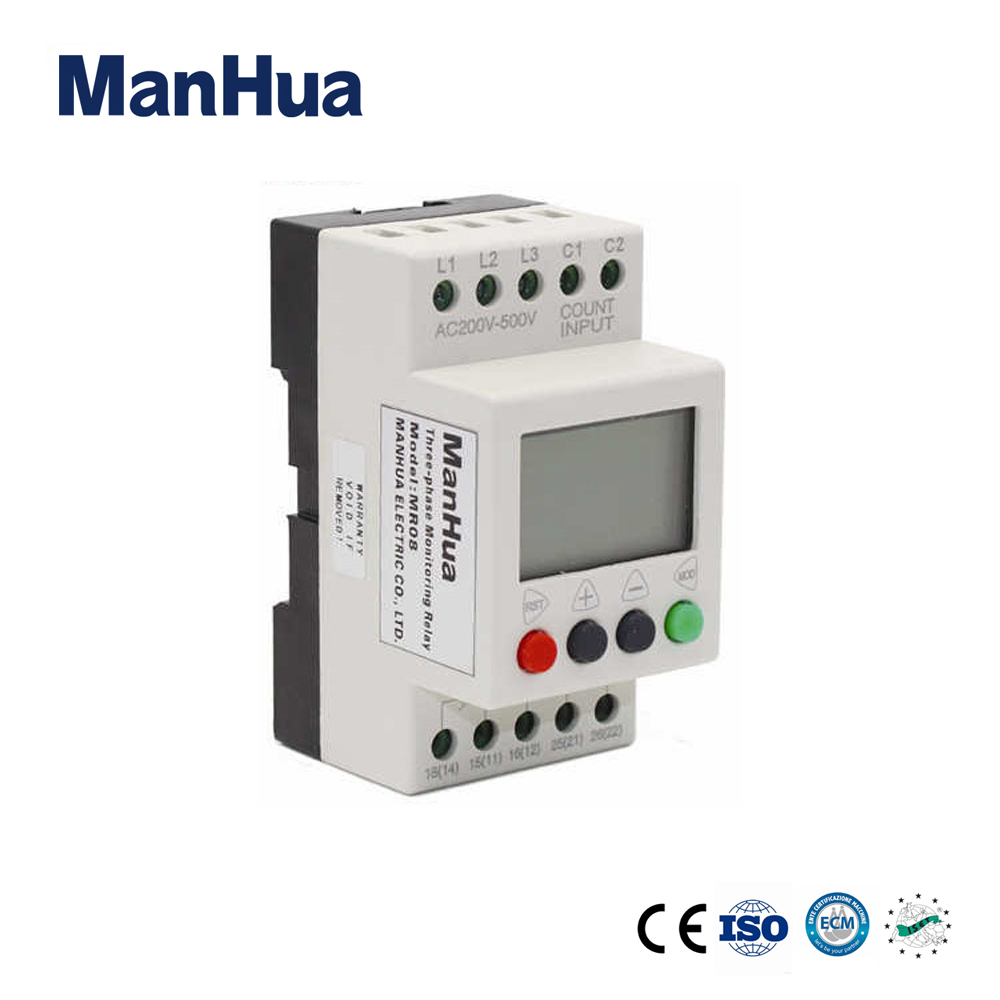 цена на ManHua Three Phase Digital Display Voltage Overload Relay 220V 8A Low Power MR08 Protective Voltage Relay