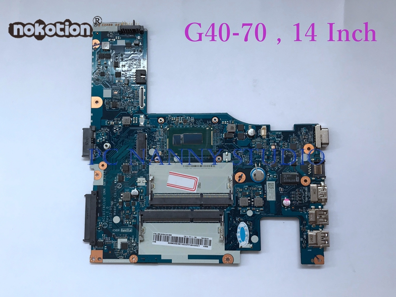 NOKOTION for Lenovo G40 70 Laptop Motherboard Mainboard 1 7GHz i5 4210U 14 Notebook HD Graphics
