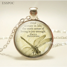 Find Ecstasy In Life Emily Dickinson Quote Necklace, Dragonfly Jewelry, Vintage Glass Dome Pendant, Graduation Gift