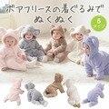 Roupas de Lã de Coelho do Inverno Da Menina do Menino Romper Do Bebê recém-nascido Infantil Bebês Roupas Meninas Urso Para Baixo Snowsuit Rosa Macacão Azul F