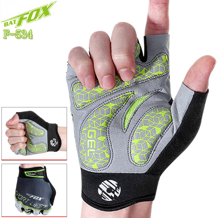 BATFOX 2018 Cycling Gloves Men Half Finger Breathable Shock absorption Bicycle Gloves Guantes Ciclismo Cortos Bike Gloves S-XL