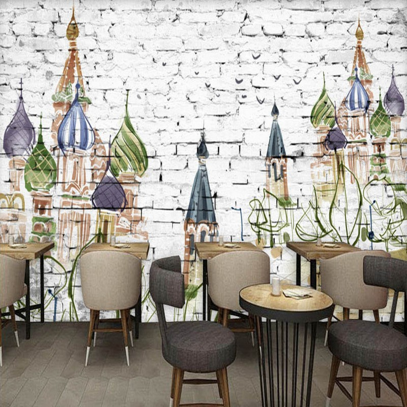 Perfect Free Shipping Retro Cartoon Hand Painted Mural Castle Brick Wall Wallpaper  Bar Restaurant Wall Mural Decorative Painting