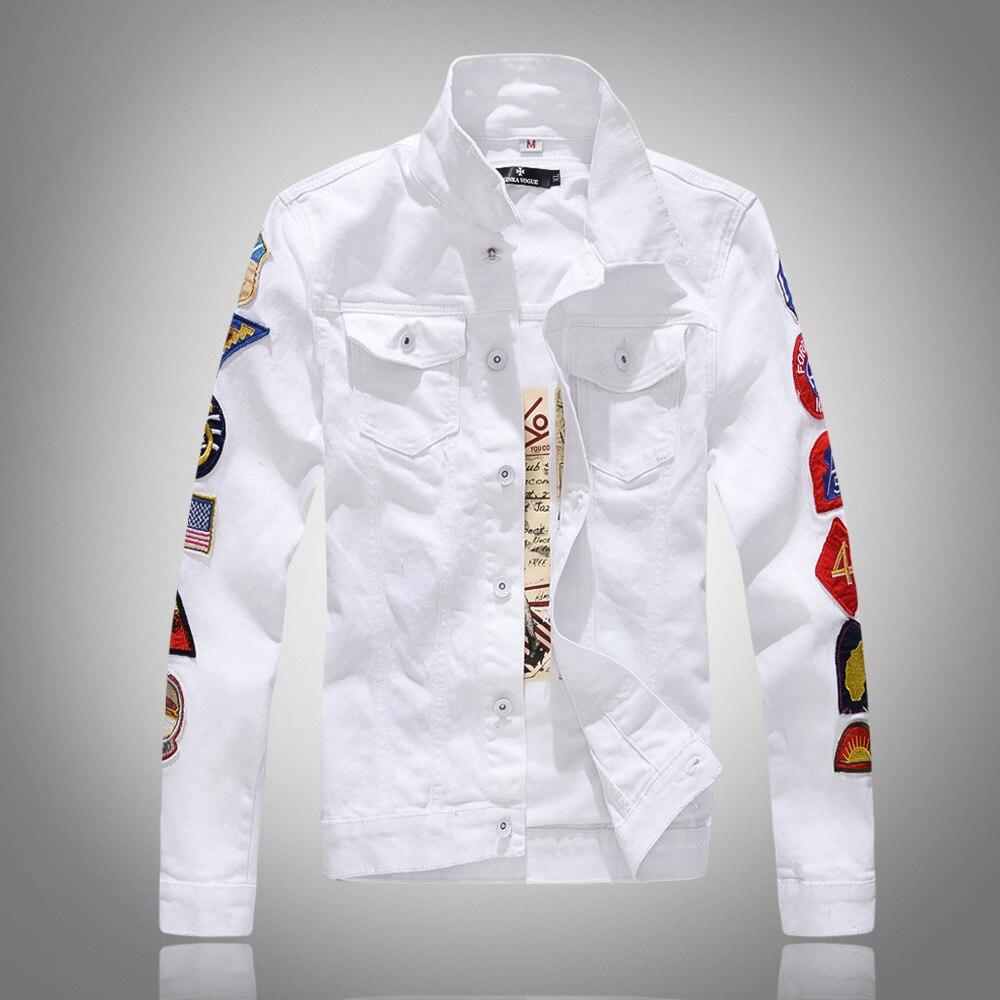 Mode Streetwear Style Punk hommes veste blanc vert couleur patchs épissé Hip Hop Denim veste hommes Bomber vestes manteau Homme