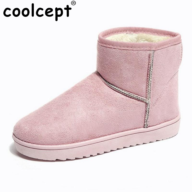 Coolcept 7 Colors Women Flats Snow Boots Mid Calf Flat Boots With Warm Fur Shoes Cold Winter Boots Women Footwears Size 36-40 double buckle cross straps mid calf boots