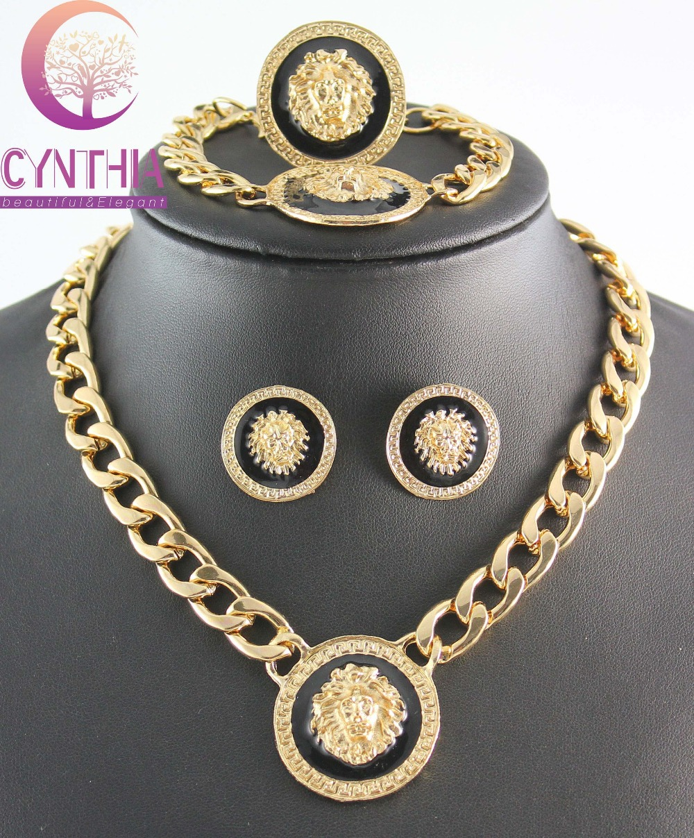 in item golden lion color rhinestone plated set from new packing gold sets bangle silver necklace earrings jewelry colors vintage head pendant medusa gift myth