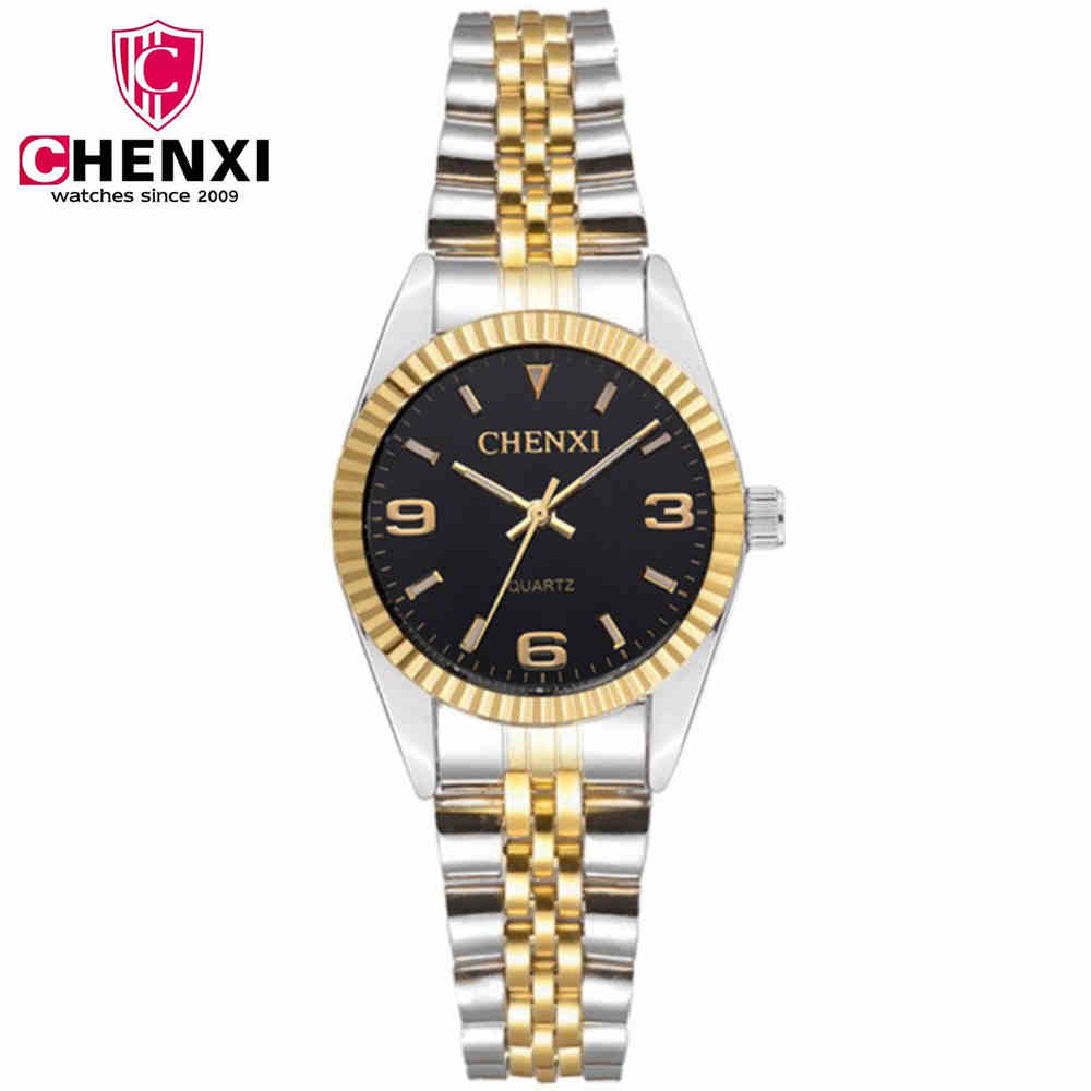 NATATE Women Business Fashion Luxury Brand CHENXI Female Watch Intermetallic gold Stainless Steel Quartz Waterproof Watch 0140 dzrzvd floral printed high waist sexy bikinis women swimsuit bathing suits push up bikini set beach plus size flower swimwear