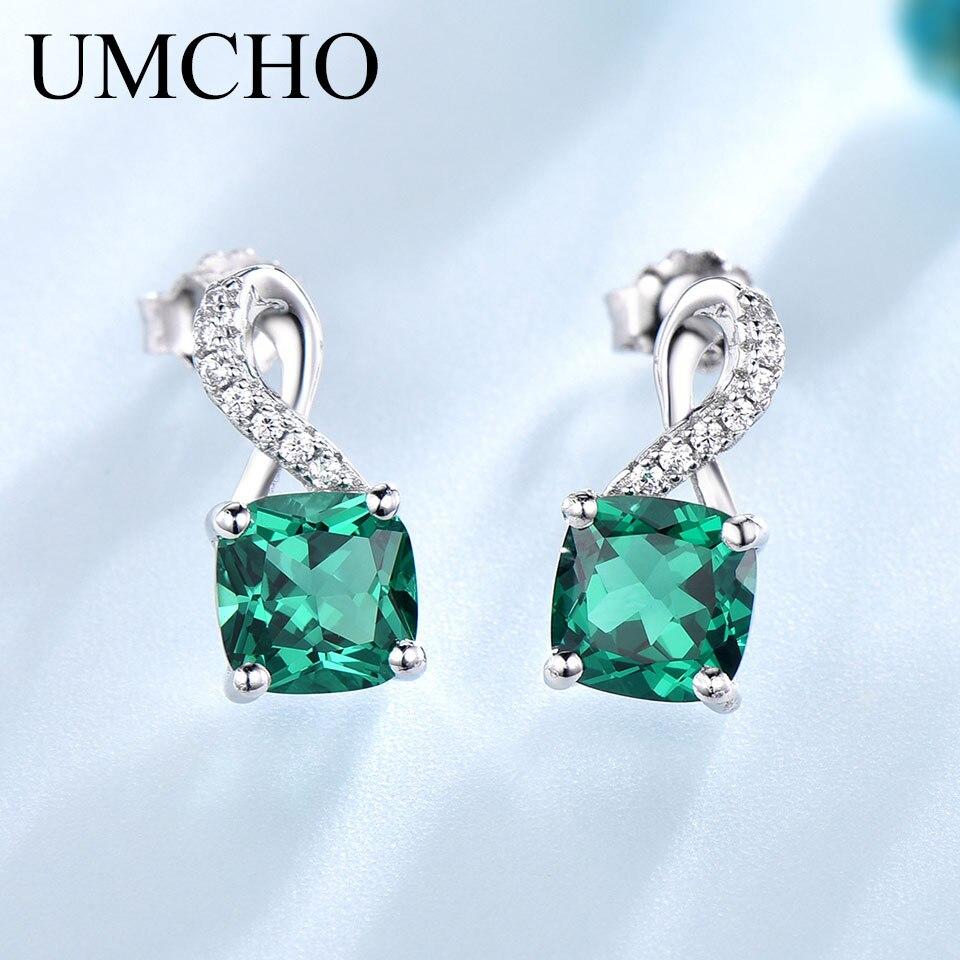 d3269c32b519 UMCHO Изумруд Серьги-подвески с драгоценными камнями для ...