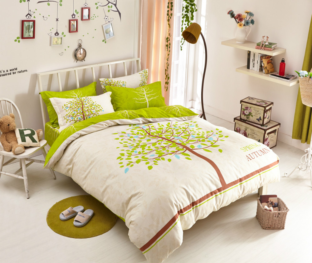 Bed sheet set with quilt - Aliexpress Com Buy New Tree Cotton Bedding Sets For Kids Spring And Autumn Quilt Cover Bed Sheet Pillow Case 4pc Full Size Children Bed Set From Reliable