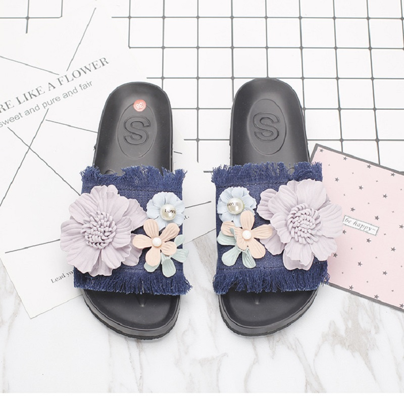 9a020e1baa7d8 VANLED Steps In Denim Woman Beach Platform Sandals Shoes Women Labelling  Little Flower Decorated Holiday Adorable Fashion Ladies-in Women s Sandals  from ...