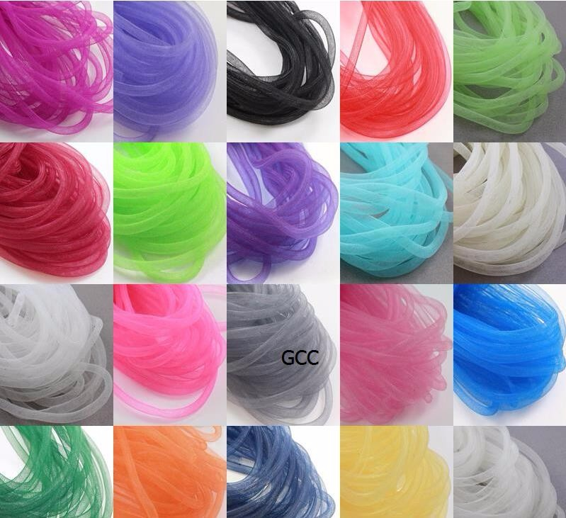 6mm <font><b>50</b></font> yards/color Plain Tubular Crinoline Tube Crin Horsehair Trimming/Braid image