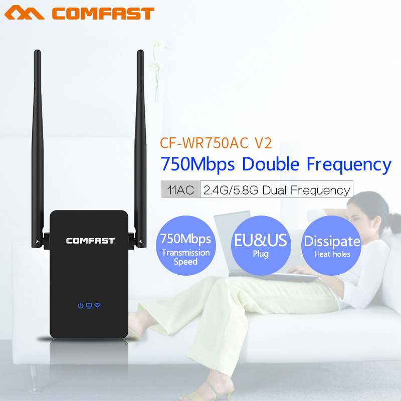 Comfast CF-WR750V2 Dual Band 750Mbps Wifi Repeater Roteador 802.11AC Wireless Router 2.4+5.8GHz long Rang Wi fi Signal Amplifier comfast cf wr750v2 dual band 750mbps wifi repeater roteador 802 11ac wireless router 2 4 5 8ghz long rang wi fi signal amplifier