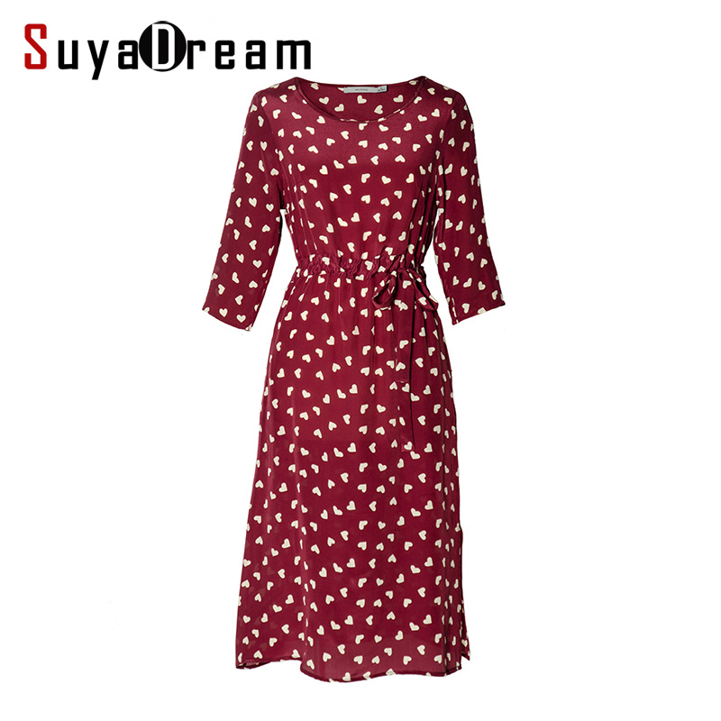 Women Silk dress 100% Natural silk 3/4 sleeved Long dress Print Chiffon silk Belted dress 2018 Spring Red 217398H02