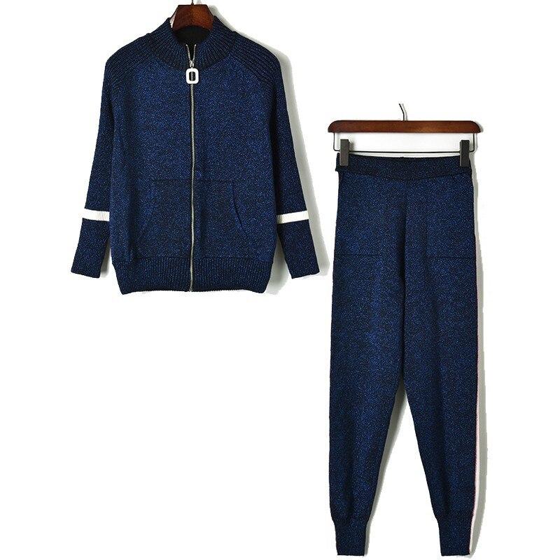 Manteau Élastique Couche Coton Pailleté Double De Ouaté Blue Manches Et Pantalons Deux Navy Tricot Haut Pièces Col Costume Ensemble En Support Femmes Survêtement 6wOqAxA